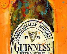 Guinness Extra Stout - Traditionally Brewed - Print from Original Watercolor - Archival Print or Giclee - Man Cave