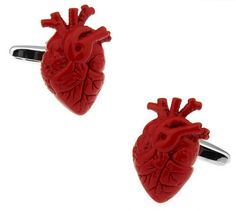 Anatomical Human Heart Cufflinks with a selection of personalised gift boxes, a great gift idea for any occasion