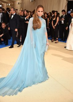 Jennifer Lopez In a blue Valentino gown at the Met Gala May 1 2017