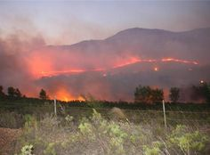 Hermanus Times - Stanford fire outside of cape town, south africa Beaches In The World, Most Beautiful Beaches, Africa Travel, Cape Town, South Africa, The Outsiders, Sunrise, Fire, Mountains