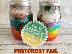 Haha!! Probably tastes just fine! >> Pinterest Fail: Rainbow Cake in a Mason Jar + Free Printable!
