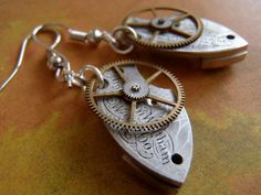 Steampunk Earrings - Made from vintage pocket watch parts