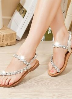 Gold Sandals - Rhinestone Czech Leather Thongs Sandals