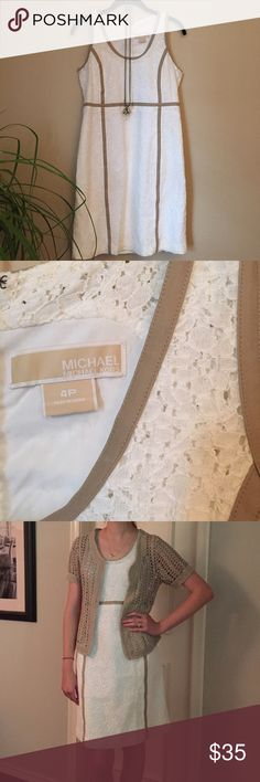 Michael Kors Dress This white lace dress with tan detailing is by Michael Kors, size 4P. Has invisible zipper in the back and is excellent condition! MICHAEL Michael Kors Dresses