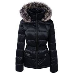 Lands' End Women's Petite Hooded Down Jacket featuring polyvore, women's fashion, clothing, outerwear, jackets, black, hooded down jacket, fleece-lined jackets, lined hooded jacket, lands end jackets and silver metallic jacket
