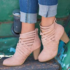 4593f02a4 Pink Round Toe Chunky Cut Out Fashion Ankle Boots - Happy Hour Chunky  Heels, Chunky
