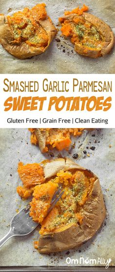 Smashed Garlic Parmesan Sweet Potatoes @OmNomAlly - Sweet potatoes are my snack obsession and these gluten-free, grain-free, soft and crispy, seasoned sweet potatoes are going to be your new favourite snack or side too!