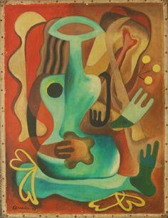 Description: Mario Carreño (CUBAN, 1913-1999) oil painting on canvas depicting abstract scene. Mario Carreño y Morales was a Cuban painter. He studied painting at the Academia de San Alejandro, Havana, Cuba from 1925 until 1926. In 1934, he studied at the Real Academia de Bellas Artes de San Fernando, Madrid, Spain.