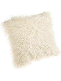 Brentwood 18-Inch Mongolian Faux Fur Pillow, Natural ❤ Brentwood