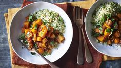 Sweet butternut squash with sour preserved lemons makes a fragrant and easy vegetarian tagine with herby couscous on the side.