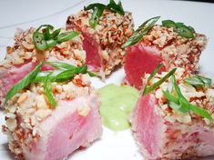 Seared tuna with a crunch. Healthy Steak Recipes, Tuna Steak Recipes, Steak Marinade Recipes, Ahi Tuna Steak Recipe, Tuna Steaks, Seared Tuna, Air Fryer Healthy, Roasted Almonds, Air Fryer Recipes