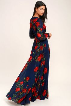 Lulus Exclusive! Galas and garden parties give you the perfect excuse to show off the Blossom Buddy Red and Navy Blue Floral Print Maxi Dress! Red floral print blooms across navy blue woven poly as it shapes a plunging V-neck (with three modesty clasps), and sheer long sleeves with button cuffs. Seamed bodice meets a banded waist, and maxi skirt. Hidden back zipper/clasp. As Seen On Kemper of @joandkemp!
