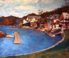 "Daily Paintworks - ""Boathouse Row, Philadelphia, PA"" - Original Fine Art for Sale - © Nava L"