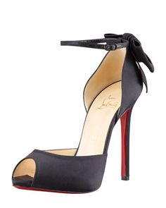Dos Noeud Satin Back-Bow d\'Orsay Red Sole Pump by Christian Louboutin at Bergdorf Goodman.