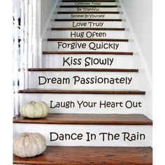 Stair Quotes Stairway Celebrate Today Be Thankful Believe Decal Home Staircase Sticker Decall size 44x60 Color Black | Overstock.com Shopping - The Best Deals on Wall Decals