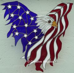 stained glass Eagle Flag