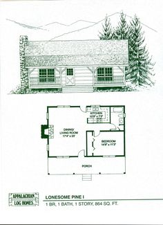 Appalachian Log and Timber Homes: Lonesome Pine I Profile: 1 BR, 1 Baths, 1 Stories, 864 sq. ft.