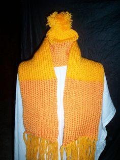 light+and+dark+orange+child+hat+and+scarf+set+knitted+handmade