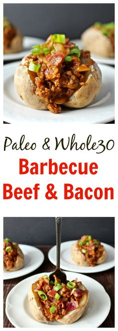 Paleo Barbecue Beef and Bacon- you can't go wrong with this combination that is easy, quick, and delicious! Whole30 and gluten free.