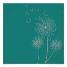 Shop Dandelion flower on teal art poster created by Juicyhues. Interior Wall Colors, Wall Colours, White Dandelion, Dandelion Flower, Modern Floral Design, Teal Art, Teal Background, Simple Art, Holiday Photos