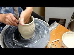 ▶ How to Shape and Alter a Thinned Cylinder on the Potter's Wheel - YouTube