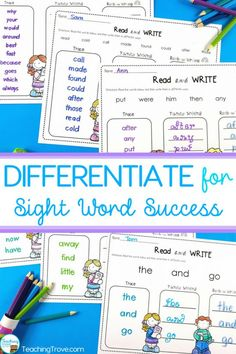 Differentiate you classroom word work activities with editable sight words