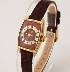 Rectangle Womens Watch Chaika Seagull, Vintage Ladies Mechanical Wrist Watch, Genuine Leather Strap Watch, Gold plated Watch, Gift For Her