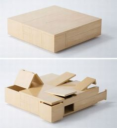 Coffee table. Hidden storage for small apartments