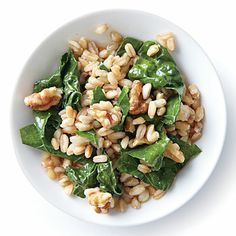 Wilted Kale with Farro and Walnuts