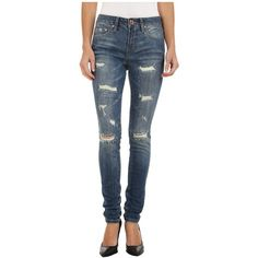 Jag Jeans Sheridan Skinny Capital Denim in Blue Carbon (Indigo)... ($71) ❤ liked on Polyvore featuring jeans, pant, mid rise skinny jeans, skinny leg jeans, blue ripped jeans, distressed jeans and blue denim jeans