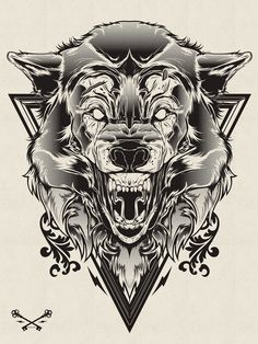 Halftone Print Series - Wolf & Lion on Behance