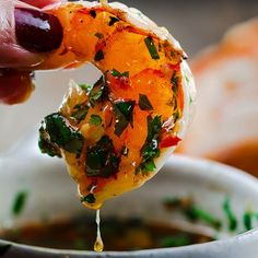 Grilled shrimp with roasted garlic-cilantro dipping sauce.