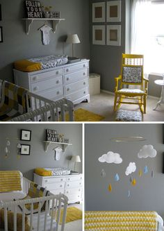 B b chambre de b b on pinterest nurseries baby rooms and monkeys for Decoration chambre bebe jaune et gris