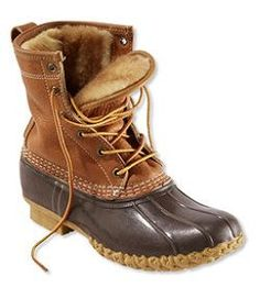 "#LLBean: Women's Bean Boots by L.L.Bean®, 8"" Tumbled-Leather Shearling-Lined"