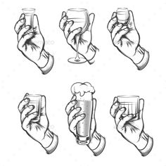 #Hand Holding Drink Vintage Sketch #Icons - #Food Objects