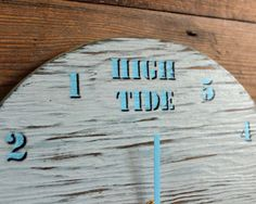 Tide Clock Blue Painted Driftwood Light Blue by ReclaimedTime