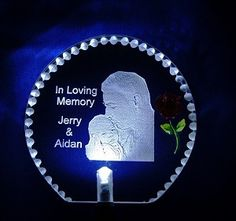 Custom Photo Solar Stake-Your loved ones photo etched on a LED solar stake for a heart felt memorial. Great in your garden or at the grave site. Can even be used inside in a planter as a unique night light. The measurements of the solar stake are 3 x Memorial Garden Stones, Memorial Urns, Memorial Ideas, Memorial Markers, Unique Night Lights, Cemetery Decorations, Remembering Mom, Cemetery Flowers, Funeral Flowers