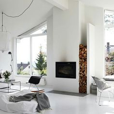White interior inspiration, how lovely and cozy does this look. Exactly what is needed in this cold weather! Home Fireplace, Fireplace Design, Renovate Fireplace, Wall Fireplaces, Fireplace Windows, Modern Fireplaces, Classic Fireplace, Bedroom Fireplace, Living Room Inspiration