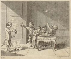 1774 German print. Blowing bubbles with a pipe is seen in several images from the 18th century.