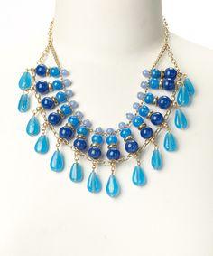Loving this ZAD Blue & Gold Glass Bead Bib Necklace on #zulily! #zulilyfinds