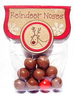 reindeer noses made from 8 whoppers and 1 red gumball.