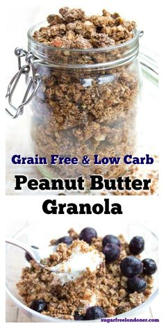 The perfect breakfast for peanut butter lovers! This healthy grain free granola has deliciously crunchy clusters. Even better, it's low carb and sugar free. granola sugarfree via 308074430759292334 Sugar Free Granola, Peanut Butter Granola, Low Carb Peanut Butter, Grain Free Granola, Sugar Free Breakfast, Low Carb Breakfast, Perfect Breakfast, Breakfast Recipes, Low Carb Cereal