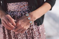Sequin Skirt & Crystal Dahlia Bracelet | Urban Peach Boutique