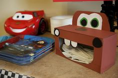 Mater made out of a Kleenex box - Cars birthday party