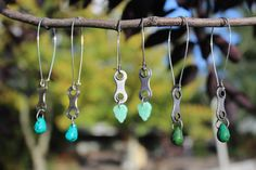 Recycled Bike Chain Earrings by SecondCycleDesigns on Etsy