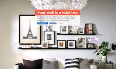 """Your wall is a total trip."" I love how they've arranged various frame sizes on and off of the ledges (IKEA black ledges here: http://www.ikea.com/us/en/catalog/products/40126069/#/30152596)."