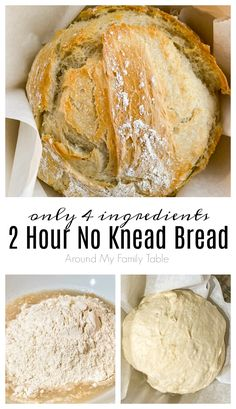 Making bread at home has never been easier than with my recipe for the Easiest 2 Hour No Knead Bread. Only 4 ingredients and 2 hours to hot, delicious bread on your table. How To Make Bread, Food To Make, Bread Making, Bread Recipes, Sourdough Recipes, Oven Recipes, Muffin Recipes, Easy Recipes, No Knead Bread