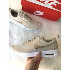 Swarovski Nude Nike Air Max Thea Running Shoes With Gold Swarovski... ($165) ❤ liked on Polyvore featuring shoes, athletic shoes, grey, women's shoes, nude footwear, nude shoes, athletic running shoes, yellow gold shoes and gold shoes