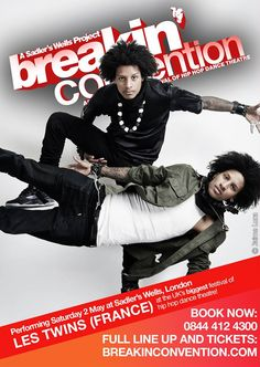 The inimitable Les Twins will be closing the first night of the main Breakin' Convention festival on Saturday 2 May!  The idiosyncratic style of these French superstars has been seen by millions around the world touring with Beyoncé and Missy Elliott. These identical twins from the northern Paris suburb of Sarcelles excel in new style hip hop and freestyle.  Tickets: https://secure.sadlerswells.com/production/41184 Full festival line up: http://breakinconvention.com/events/festival