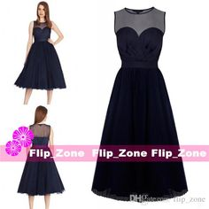 Dark Navy Blue Chiffon 2015 Cheap Bridesmaid Dresses With Sheer Neckline  Sweetheart Tea Length 2016 Plus e284757c0476